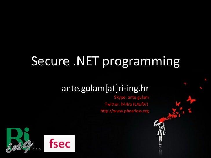 Secure .NET programming