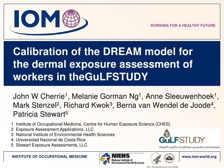 WORKING FOR A HEALTHY FUTURECalibration of the DREAM model forthe dermal exposure assessment ofworkers in theGuLFSTUDYJohn...