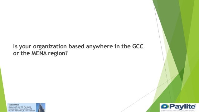 Is your organization based anywhere in the GCC or the MENA region?