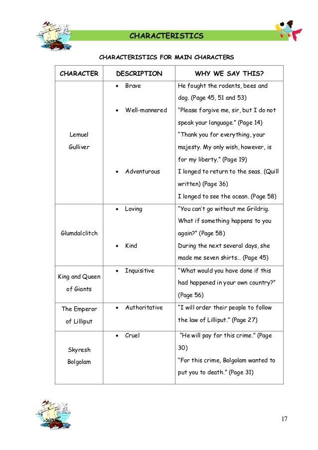 a character analysis of gullivers travels Gulliver's travels literary analysis_draft - download as word doc (doc / docx), pdf file (pdf), text file (txt) or read online.