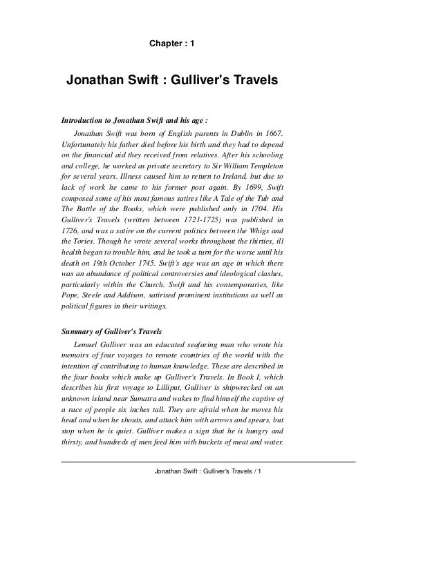 "Analysis of the Enlightenment from Jonathan Swift's ""gulliver's Travels"""