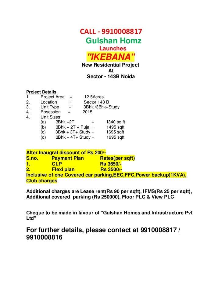 New launch Gulshan  IKEBANA sector 143 B noida 9910008817