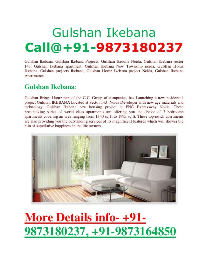 Gulshan IkebanaCall@+91-9873180237Gulshan Ikebana, Gulshan Ikebana Projects, Gulshan Ikebana Noida, Gulshan Ikebana sector...