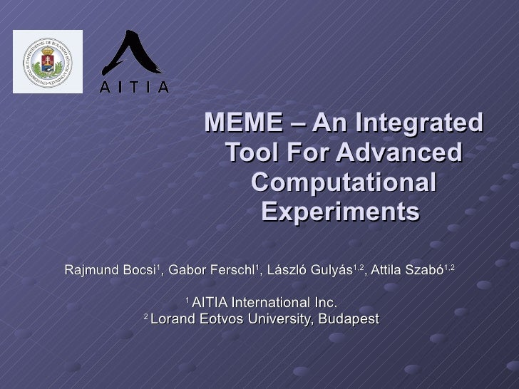 MEME – An Integrated Tool For Advanced Computational Experiments