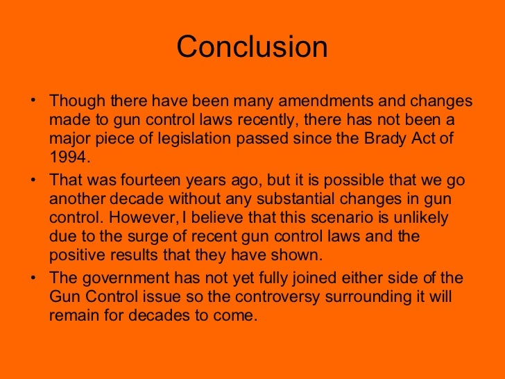thesis statement for gun control Thesis statement: gun control decreases crime if gun control is regulated, then we will have less crime access to firearms makes killing easy, efficient, and impersonal, which increases the lethality of crime.