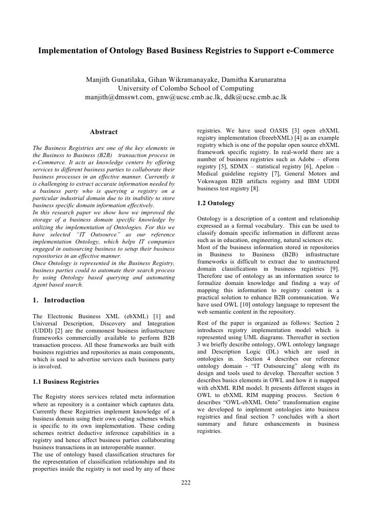 Implementation of Ontology Based Business Registries to Support e-Commerce