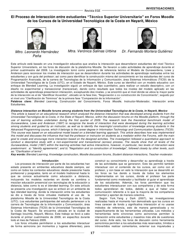 INVESTIGACIONES                                                             Revista EGEEl Proceso de Interacción entre est...