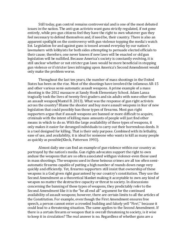 persuasive essay gun control conclusion Argumentative essay on gun control english 101 argumentative/persuasive essay 4/12/2013 word count 1,255 readability 12 3.