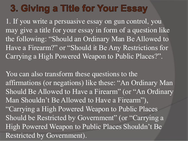 argumentative essay for gun control