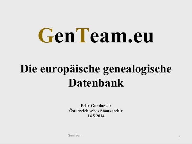 GenTeam.eu Die europäische genealogische Datenbank Felix Gundacker Österreichisches Staatsarchiv 14.5.2014 1 GenTeam