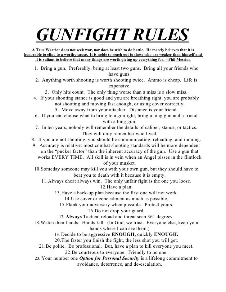 Rules For a Gunfight Picture Gunfight Rules