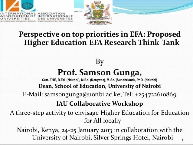 Perspective on top priorities in EFA: Proposed    Higher Education-EFA Research Think-Tank                                ...