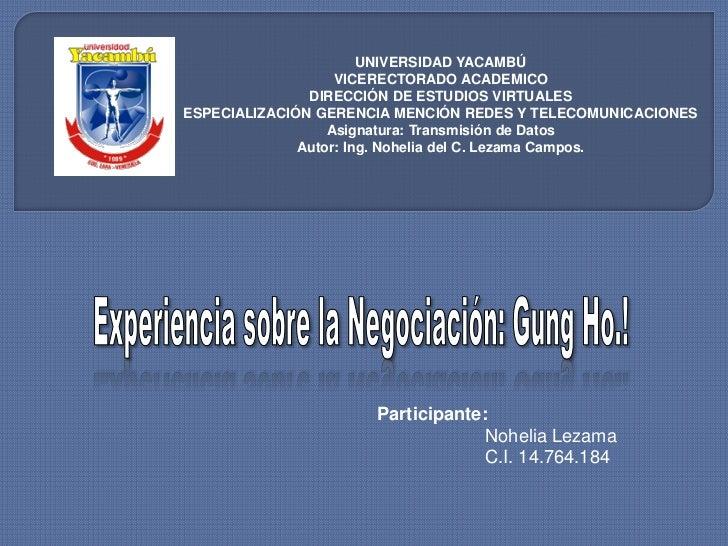 UNIVERSIDAD YACAMBÚ                   VICERECTORADO ACADEMICO               DIRECCIÓN DE ESTUDIOS VIRTUALESESPECIALIZACIÓN...