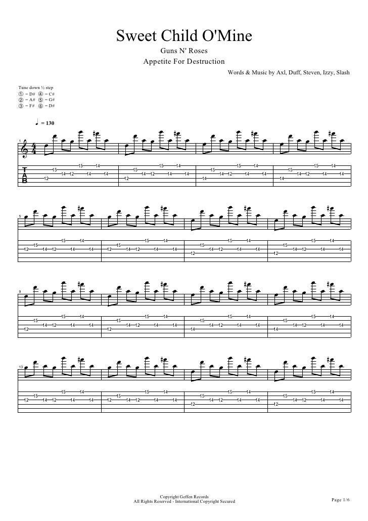 Famous Sweet Child O Mine Chords Piano Ensign - Guitar Ukulele Piano ...