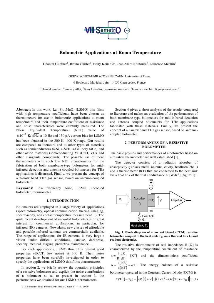 Bolometric Applications at Room Temperature                       Chantal Gunther1, Bruno Guillet2, Fiény Kouadio3, Jean-M...