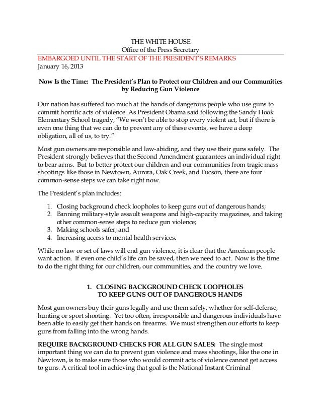 Now Is the Time: The President's Plan - Fact Sheet