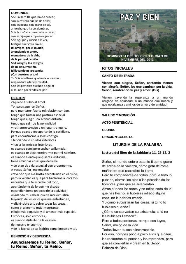 Guíon Eucaristía. Domingo XXXI del TO. 3 de noviembre del 2013