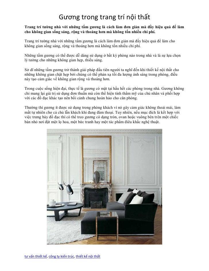 Gương trong trang trí nội thấtTrang trí tường nhà với những tấm gương là cách làm đơn giản mà đầy hiệu quả để làmcho không...