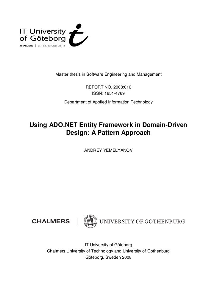 Master thesis in Software Engineering and Management                        REPORT NO. 2008:016                          I...