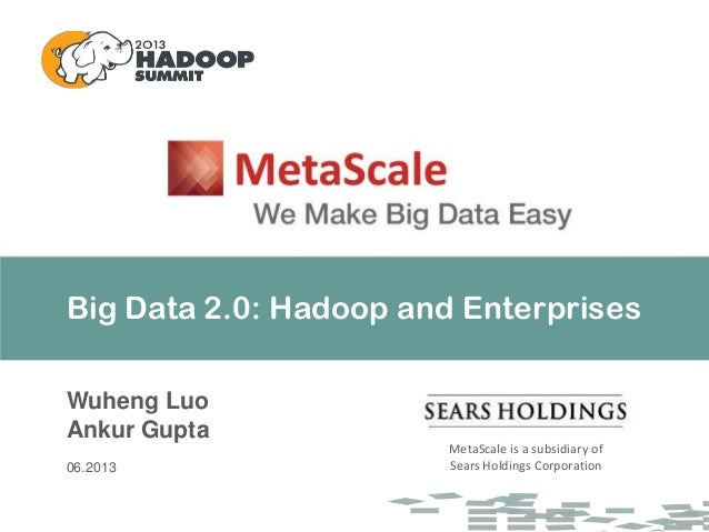 Big Data 2.0: Hadoop and Enterprises Wuheng Luo Ankur Gupta 06.2013 MetaScale is a subsidiary of Sears Holdings Corporation