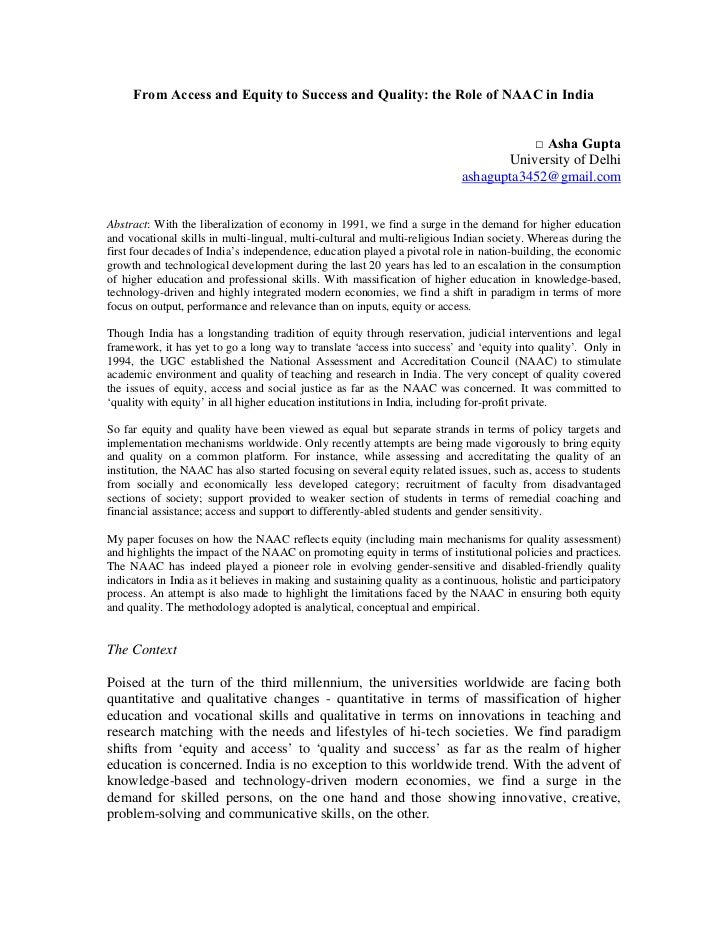 From Access and Equity to Success and Quality: the Role of NAAC in India                                                  ...