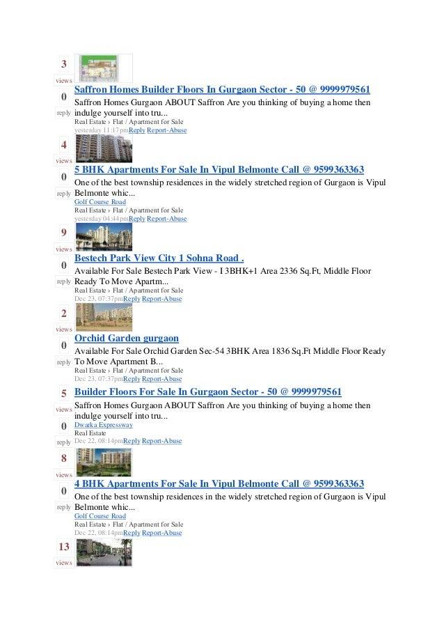 Gurgaon   real estate - flat - apartment - sale -dec12-part-i