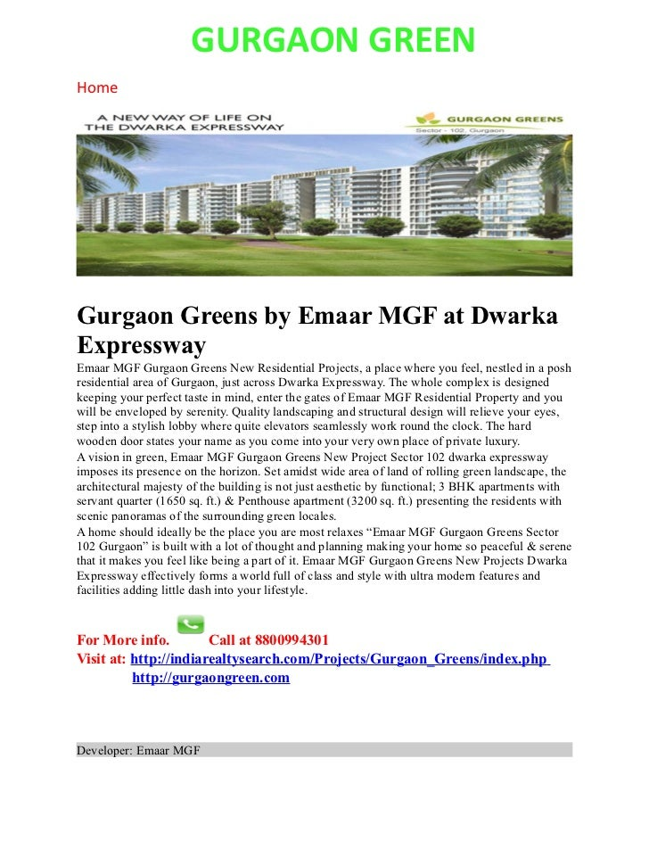 GURGAON GREENHomeGurgaon Greens by Emaar MGF at DwarkaExpresswayEmaar MGF Gurgaon Greens New Residential Projects, a place...