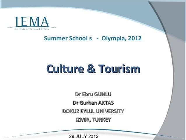 Summer School s - Olympia, 2012Culture & Tourism         Dr Ebru GUNLU        Dr Gurhan AKTAS     DOKUZ EYLUL UNIVERSITY  ...