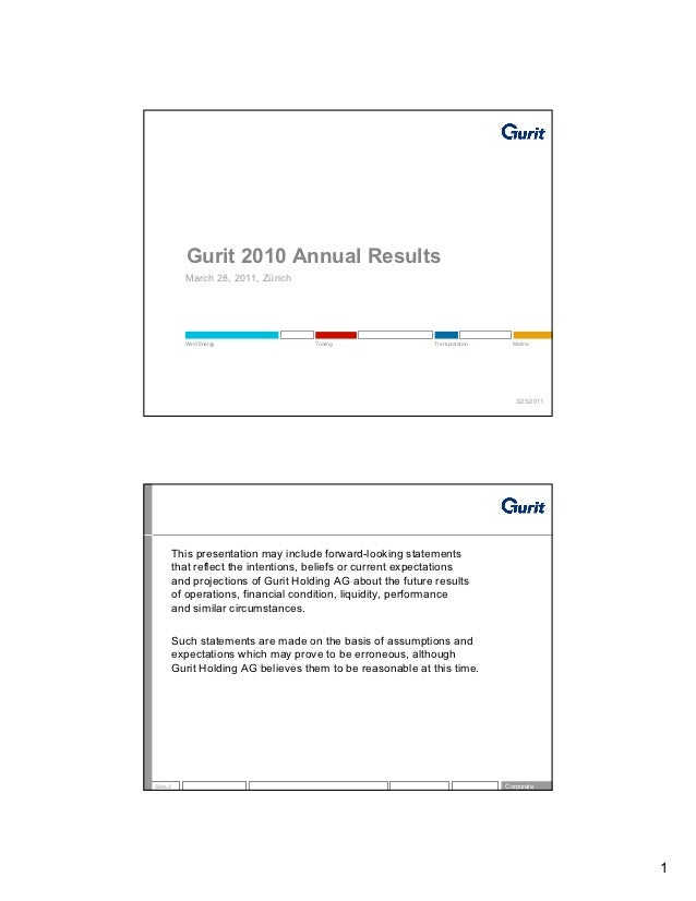 Gurit 2010 Annual Results            March 28, 2011, Zürich            Wind Energy                Tooling                 ...