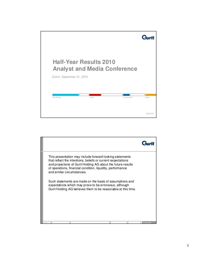 Half-Year Results 2010             Analyst and Media Conference            Zürich, September 21, 2010            Wind Ener...