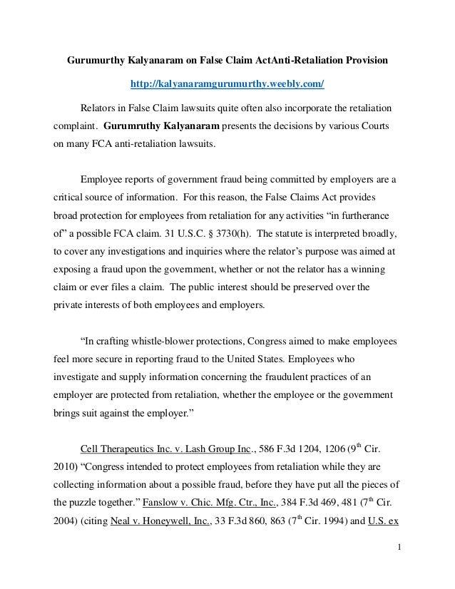 Gurumurthy Kalyanaram on False Claim ActAnti-Retaliation Provision http://kalyanaramgurumurthy.weebly.com/ Relators in Fal...