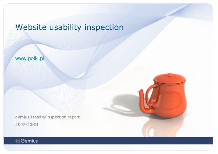 Website usability inspectionwww.polki.plgemiusUsabilityInspection report2007-10-01