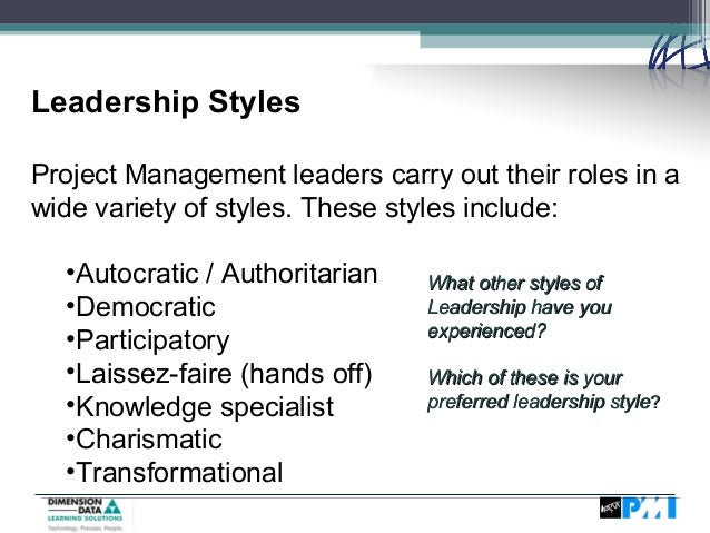 types of leadership styles in management pdf