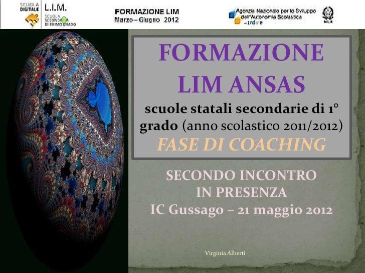 FORMAZIONE    LIM ANSAS scuole statali secondarie di 1°grado (anno scolastico 2011/2012)  FASE DI COACHING   SECONDO INCON...