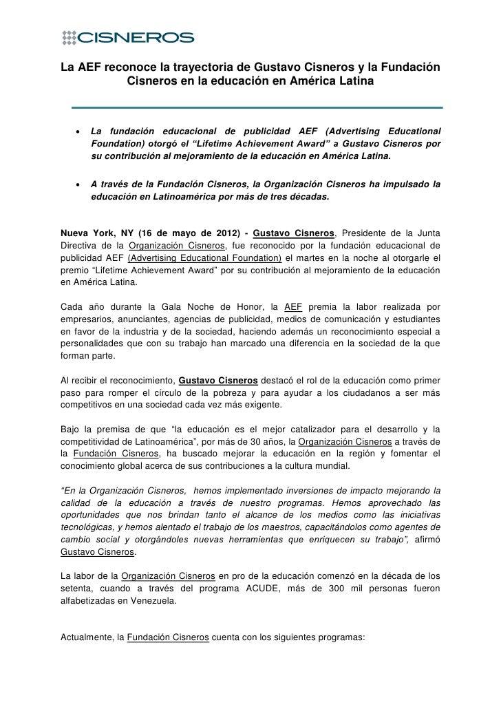 La AEF reconoce la trayectoria de Gustavo Cisneros y la Fundación           Cisneros en la educación en América Latina   ...