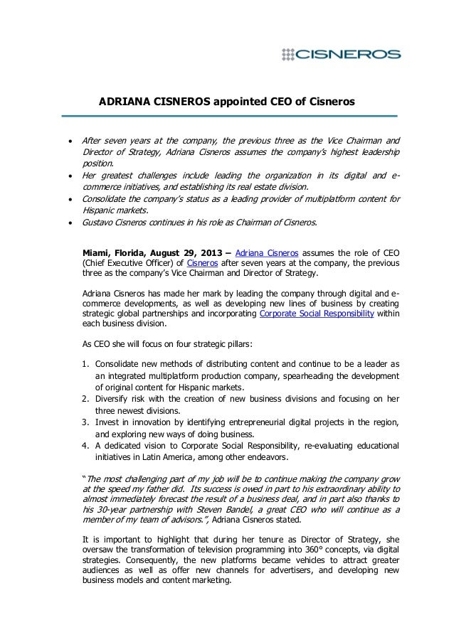 ADRIANA CISNEROS appointed CEO of Cisneros  After seven years at the company, the previous three as the Vice Chairman and...