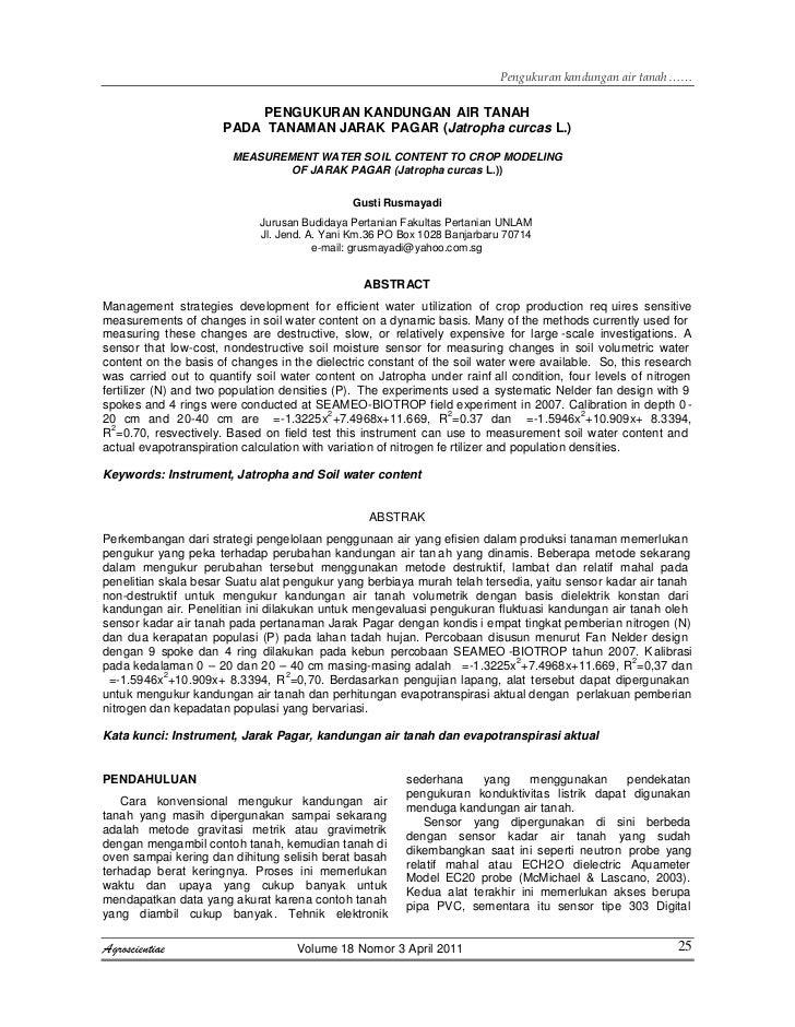 PENGUKURAN KANDUNGAN AIR TANAH                      PADA TANAMAN JARAK PAGAR (Jatropha curcas L.)                        M...