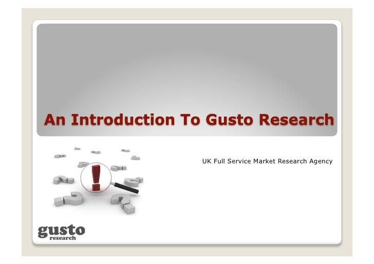 Gusto Research Presentation