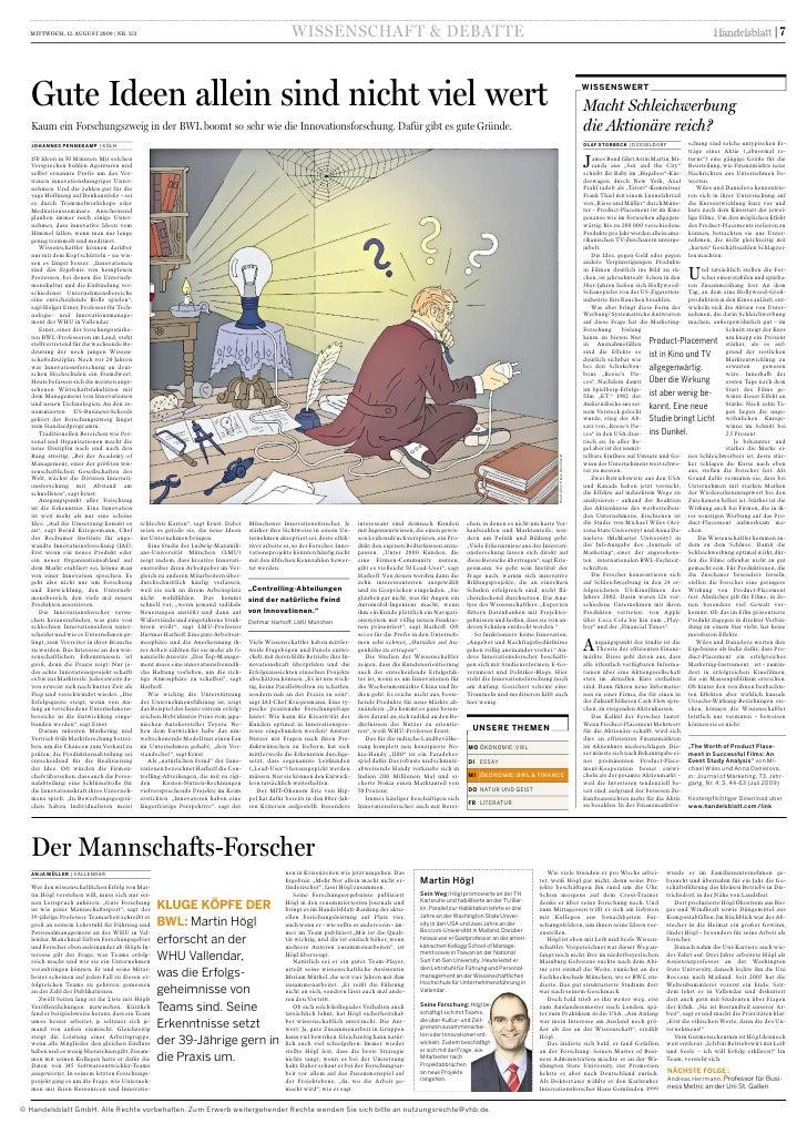Artikel aus dem Handelsblatt vom 12.08.09