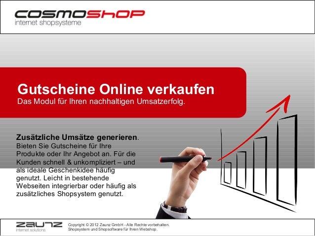 Gutscheine Online verkaufen Das Modul für Ihren nachhaltigen Umsatzerfolg.  Zusätzliche Umsätze generieren. Bieten Sie Gut...