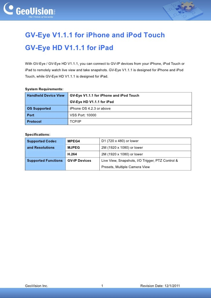 GV-Eye V1.1.1 for iPhone and iPod Touch GV-Eye HD V1.1.1 for iPad
