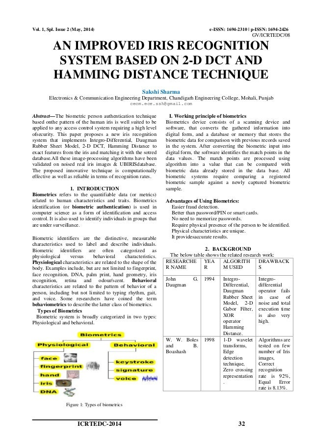 AN IMPROVED IRIS RECOGNITION SYSTEM BASED ON 2-D DCT AND HAMMING DISTANCE TECHNIQUE