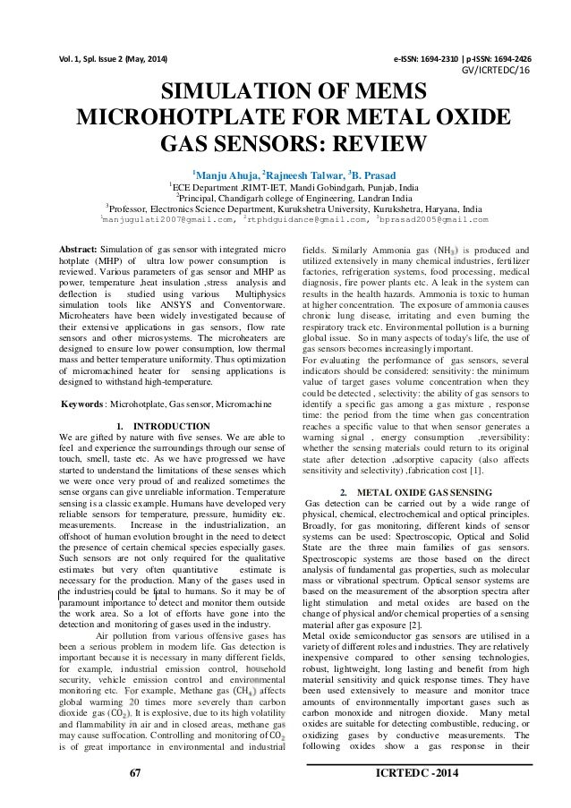 SIMULATION OF MEMS MICROHOTPLATE FOR METAL OXIDE GAS SENSORS: REVIEW
