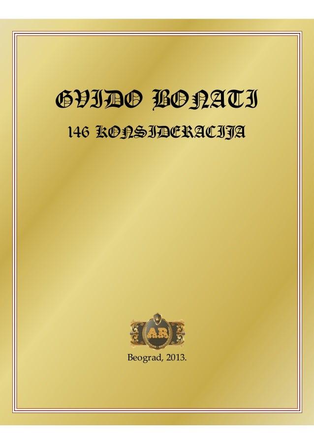 GVIDO BONATI 146 KONSIDERACIJA Beograd, 2013.