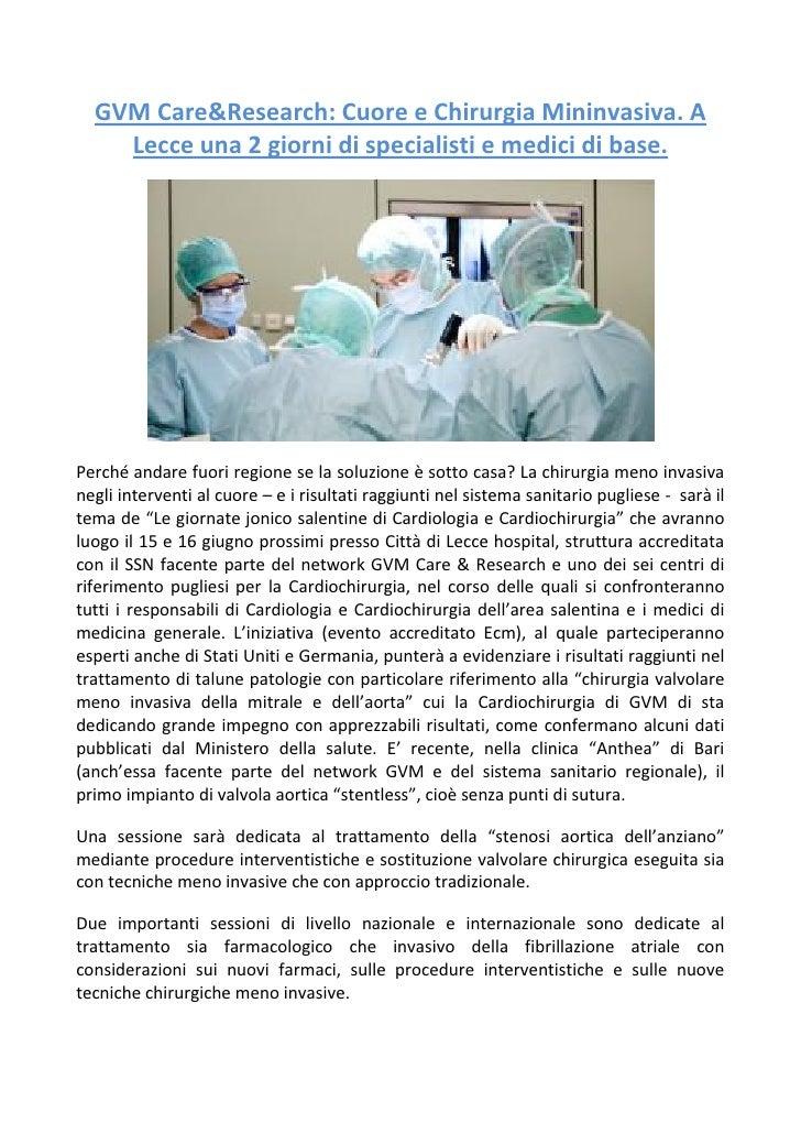 GVM Care&Research: Cuore e Chirurgia Mininvasiva. A Lecce una 2 giorni di specialisti e medici di base.