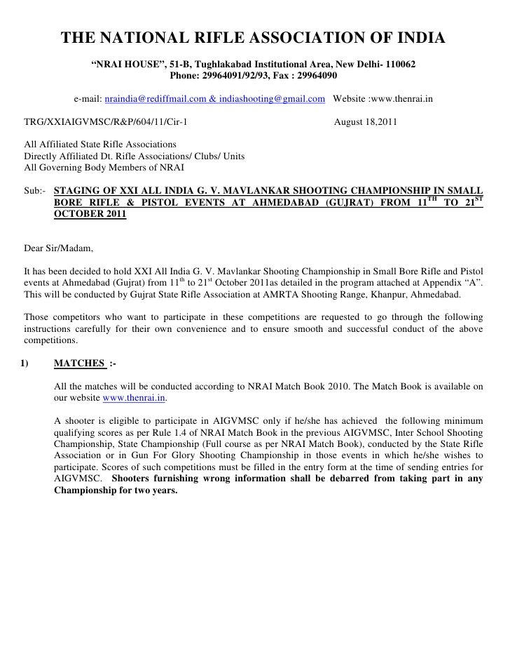 "THE NATIONAL RIFLE ASSOCIATION OF INDIA                 ""NRAI HOUSE"", 51-B, Tughlakabad Institutional Area, New Delhi- 110..."