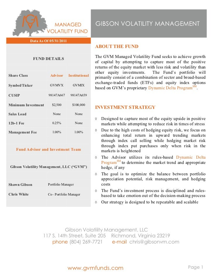 GVM Managed Volatility Fund Fact Sheet   20110531