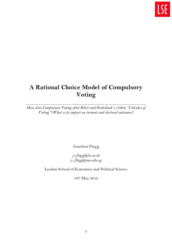 A Rational Choice Model of Compulsory                 VotingHow does Compulsory Voting alter Riker and Ordeshook's (1968) ...