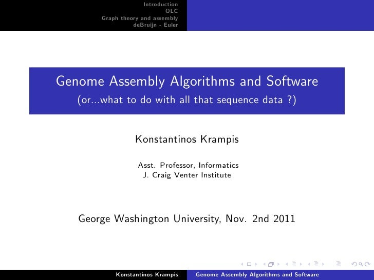 Overview of Genome Assembly Algorithms