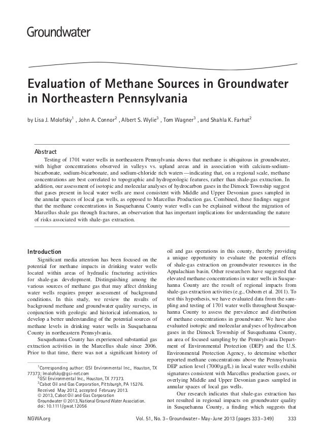Evaluation of Methane Sources in Groundwater in Northeastern Pennsylvania by Lisa J. Molofsky1 , John A. Connor2 , Albert ...